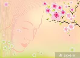 Sakura Blossoms Background Vector With Mesh Gradients Sticker Pixerstick