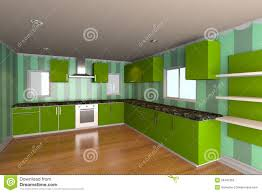 Kitchen Room Kitchen Room With Green Wallpaper Stock Photography Image 29497362
