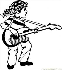 Small Picture Girl Play Guitar And Sing Coloring Page Free Instruments