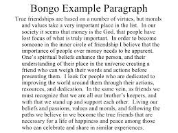 essay writing for success  19 bongo example paragraphtrue friendships