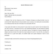 Refernce Letter Template Generic Letter Of Reference Rome Fontanacountryinn Com