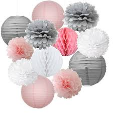 Flower Paper Lanterns 12pcs Mixed Pink Grey White Decorative Paper Pompoms Flower Hanging Paper Lantern Honeycomb Balls Wedding Birthday Christening Girl Baby Shower