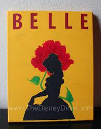 disney art belle silhouette enchanted rose canvas painting