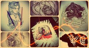 эскизы тату медведь примеры рисунков