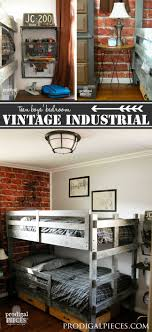 Cool teen boys bedroom makeover Teen Boys Room Gets Vintage Industrial Makeover With Faux Brick Wallpaper Metal Prodigal Pieces Teen Boys Room Reveal Vintage Industrial Style Prodigal Pieces