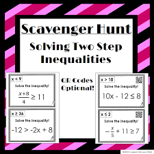 solving two step inequalities scavenger hunt 14 questions to hang around the room recording