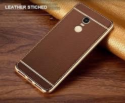 vaku xiaomi redmi note 4 leather stiched gold electroplated soft tpu back cover