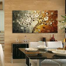 tree flowers painting hand painted canvas oil painting 3d texture wall art pictures for living room