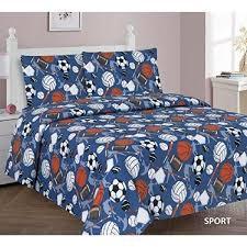 elegant home multicolor sports basketball football baseball soccer volleyball hockey design 3 piece printed twin sheet