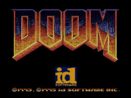 sony playstation 1 logo. doom title screenshot sony playstation 1 logo