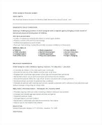 Sample Caregiver Resume Unique Child Care Resume Sample Simple Resume Template