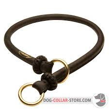 training round leather dog choke collar with rings