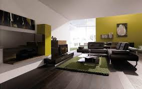 living room with black furniture. Green Paint Color Ideas For Living Room With Dark Black Sofa Furniture