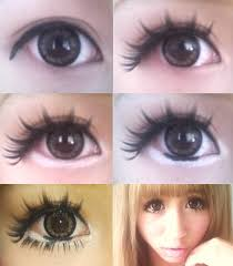 anese gyaru makeup giant eyes with extended faux lashes white liner along lower lids and ultra