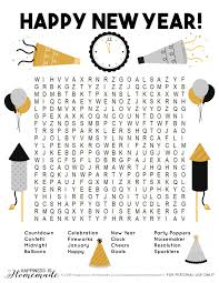 New Year S Word Search For