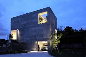 modern lighting design houses. Architecture, Front Yard Modern House Design With Grey Exterior Plus Small Garden And Basement Garage Lighting Houses