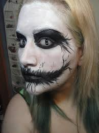 creepy black and white face paint makeup white black homemade