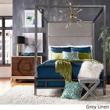 Evie Black Nickel Metal Canopy Bed with Linen Panel Headboard by iNSPIRE Q  Bold - Free Shipping Today - Overstock.com - 24177735