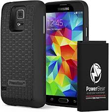 samsung galaxy s5. powerbear samsung galaxy s5 extended battery [7800mah] \u0026 back cover protective case ( l