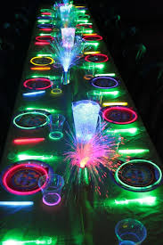 glow in the dark guest tables see more glow in the dark party ideas on