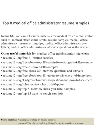 office administrator resume samples top 8 medical office administrator resume samples