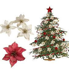 Amajoy 12 Glitzer Weihnachtsstern Weihnachtsbaum Ornament Künstliche Blumen Hochzeit Weihnachten Xmas Tree Kränzen Decor Ornament 14 Cm Rot Und Gold
