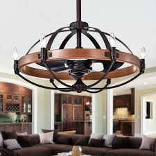 30 Ceiling Fan Light Gredis Black 30 Inch 6 Light Lighted Ceiling Fan Fandelier With Faux Wood Hoop Includes Remote And Light Kit