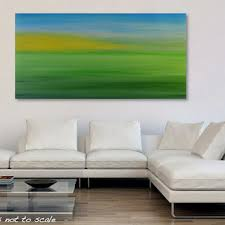 large 48 x 24 abstract landscape painting original field sunrise horizon acrylic canvas wall art on yellow blue and gray wall art with large 48 x 24 abstract seascape painting from gillian sarah art