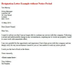 Resignation Letter Example Without Notice Period Learnist Org