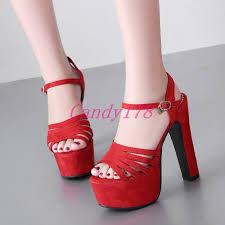 <b>Fashion Womens</b> Peep Toe Strap Chunky Pumps <b>Super High</b> Heels ...