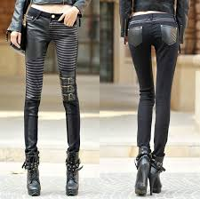 fashion women s pu leather biker jeans patchwork punk style zippers on knee skinny slim fit pencil trousers in pants capris from women s clothing on