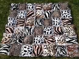 12 best Animal print quilts images on Pinterest | African fabric ... & Animal print quilt puffy rag quilt zebra leopard cheetah tiger Adamdwight.com