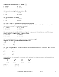 6Th Grade Math Review Worksheets Free Worksheets Library ...