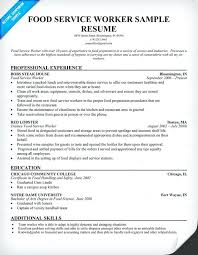Sample Fast Food Resume Food Service Resume Samples Sample Resumes