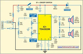 usb powered audio power amplifier wiring and diagram pin 7 of tda2822m receives the left channel sound signals and pin 6 receives