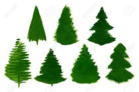 set of 7 cartoon pine trees painted isolated stock vector 84062299