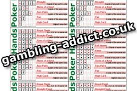 Poker Hands Chart Texas Holdem Ranking Chart Bonus Information