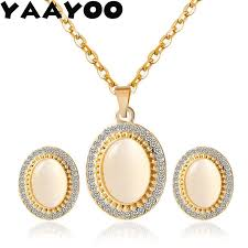 yaayoo women trendy oval stone pendant necklace earring two pieces set statement wedding bridal jewelry choker sets gift pn165 bridal earrings wedding rings