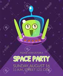 Space Party Invitation Space Party Banner Template With Cute Alien Design Element Can