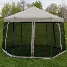 custom pool enclosure hexagon shape. Sunnydaze Penthouse Quick-Up Instant Hexagon Canopy Gazebo With Mesh Screen  Sides And Rolling Bag, 12 Foot, Grey Custom Pool Enclosure Hexagon Shape O