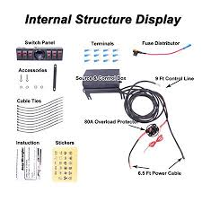 amazon com liteway overhead 6 rocker switch pod panel wiring Leash Electronics Wiring Diagram amazon com liteway overhead 6 rocker switch pod panel wiring kit panel with control and source system relay box assemblies digital voltmeter for jeep Ford Electronic Ignition Wiring Diagram