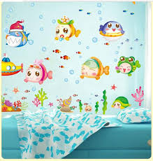 Small Picture Cartoon Chinese Blue Ocean Fish Wall Stickers Home Decor 3d Wall