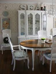 french country dining room cane back chairs hutch painted white
