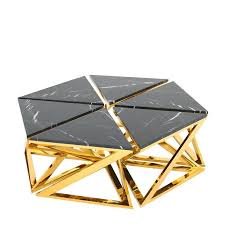 Ellipse Coffee Table Set Of Six Table In Gold Finish With Black Marble Top 2