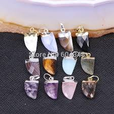 10pc zyz180 9020 natural stone pendant horn shape charms pendants for jewelry making necklace pendants