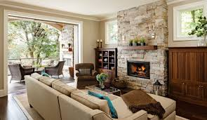 living room with stone fireplace. living room, stone fireplace outdoor decorative reclaimed wood brown microfiber sectional sofa stack of book room with