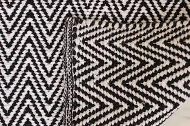 2 meter long chevron zig zag floor runner black white woven cotton contemporary rug