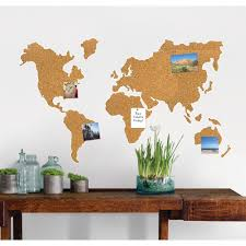 cork map pinboard wall decal