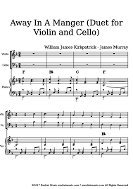 exultet sheet music away in a manger duet for violin and cello william james kirkpatrick