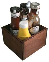restaurant condiment holder wooden takeaway square table top dark oak bar tabletop